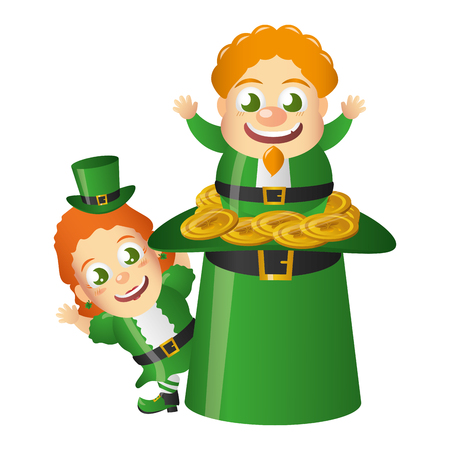 leprechaun and girl with hat coins happy st patricks day vector illustration