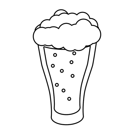 cold glass beer foam white background vector illustration