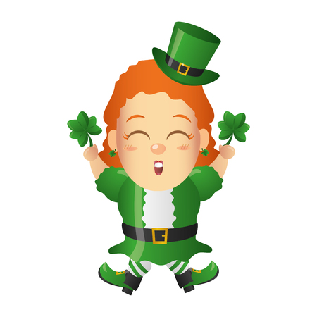 leprechaun girl clovers happy st patricks day vector illustration