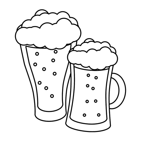 glass beers alcohol on white background vector illustration 일러스트