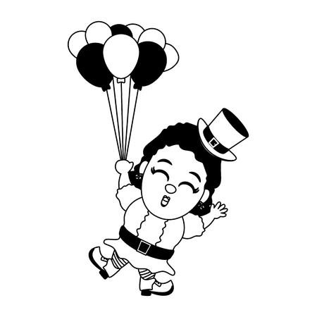 leprechaun girl with balloons happy st patricks day vector illustration 일러스트