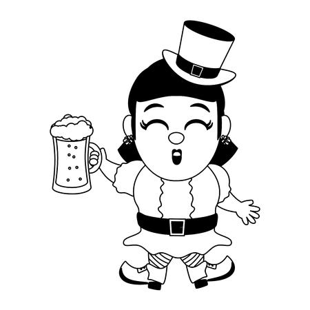 leprechaun girl with beer happy st patricks day vector illustration Illusztráció