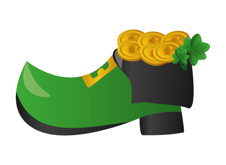 filled shoe gold coins clover happy st patricks day vector illustration Ilustracja