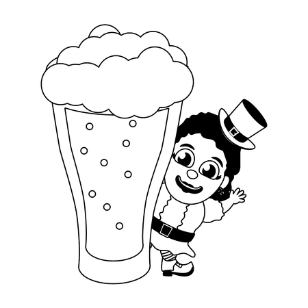 leprechaun girl with big beer happy st patricks day vector illustration
