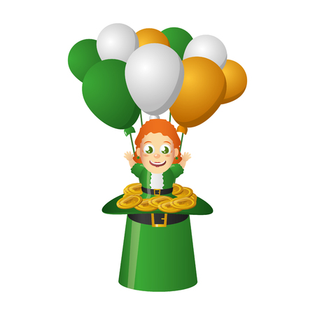 leprechaun girl hat balloons coins happy st patricks day vector illustration