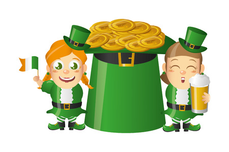 leprechaun girls with beer flag and hat coins st patricks day vector illustration Stock Illustratie