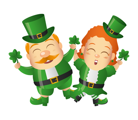 leprechaun and girl with clovers happy st patricks day vector illustration