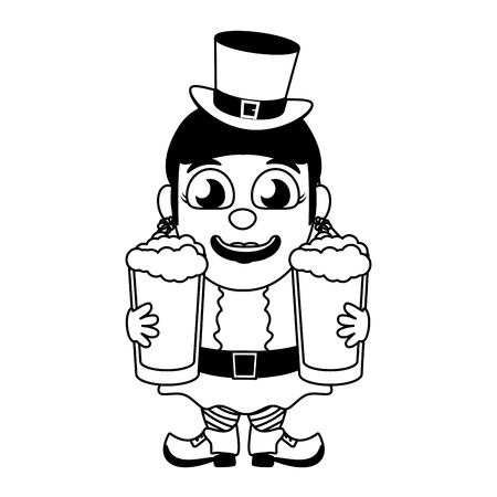 leprechaun girl with beers st patricks day vector illustration Foto de archivo - 125835996