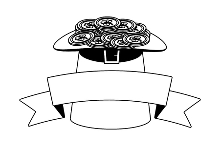 filled hat coins ribbon happy st patricks day vector illustration  イラスト・ベクター素材