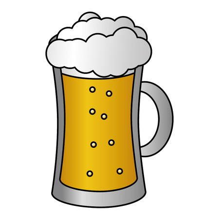 cold glass beer foam white background vector illustration Banco de Imagens - 125836014