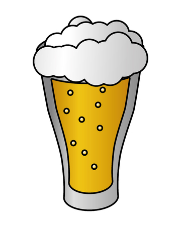 cold glass beer foam white background vector illustration