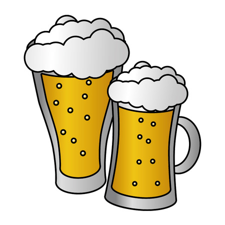 glass beers alcohol on white background vector illustration Banco de Imagens - 125836016