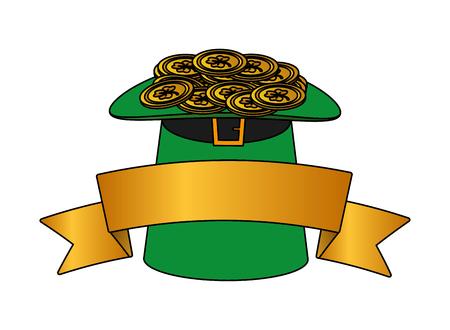 filled hat coins ribbon happy st patricks day vector illustration Ilustração
