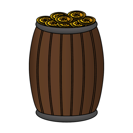 wooden barrel with coins happy st patricks day vector illustration