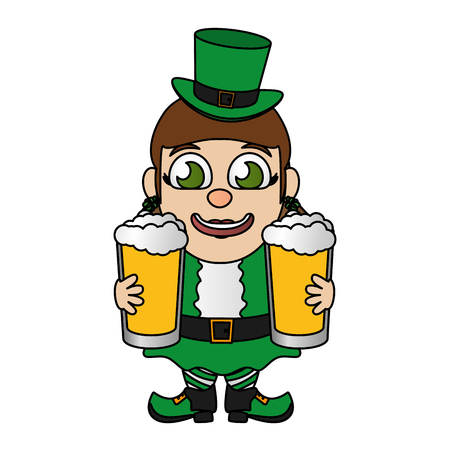 leprechaun girl with beers st patricks day vector illustration Foto de archivo - 116015101