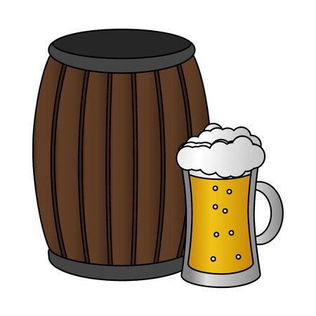 barrel beer happy st patricks day vector illustration