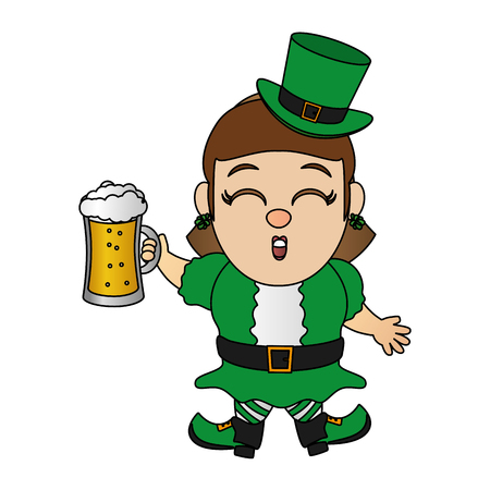 leprechaun girl with beer happy st patricks day vector illustration Ilustracja
