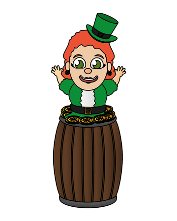 leprechaun girl with barrel coins happy st patricks day vector illustration Reklamní fotografie - 125837197