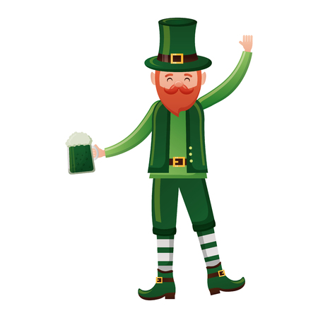 leprechaun with beer happy st patricks day vector illustration