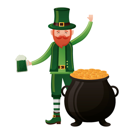 leprechaun with beer and cauldron happy st patricks day vector illustration