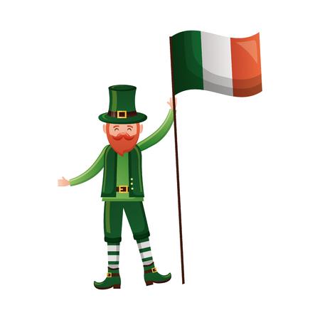 leprechaun irish flag happy st patricks day vector illustration Stock Vector - 116015114