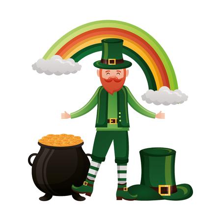 leprechaun with hat rainbow pot coins happy st patricks day vector illustration