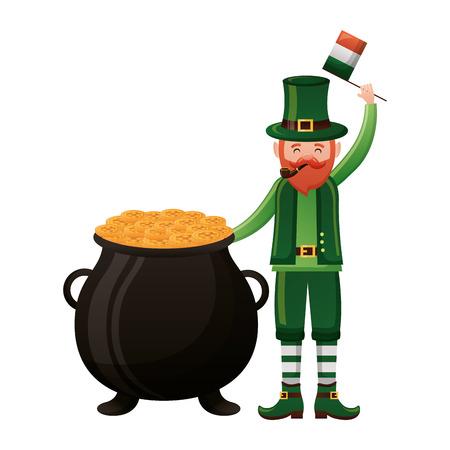 leprechaun with flag and cauldron happy st patricks day vector illustration Foto de archivo - 116015117