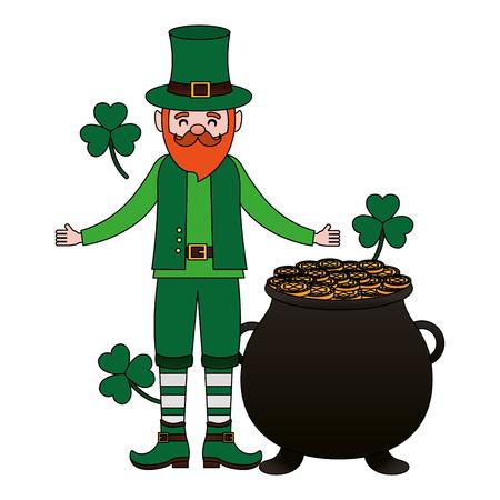 leprechaun pot coins clovers happy st patricks day vector illustration Foto de archivo - 116015123