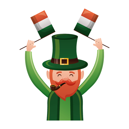 leprechaun with irish flags st patricks day vector illustration Stock Vector - 115984013