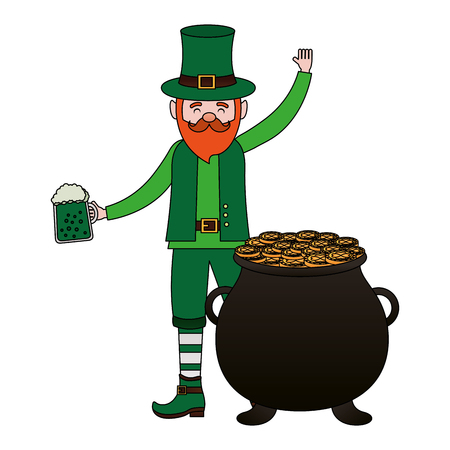 leprechaun with beer and cauldron happy st patricks day vector illustration Foto de archivo - 116015157