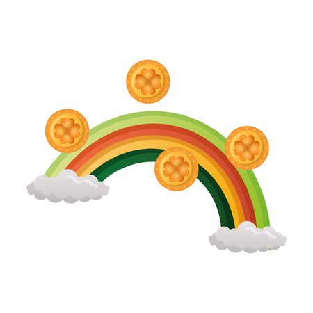 rainbow coins happy st patricks day vector illustration