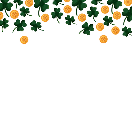 st patricks day background border clovers and coins