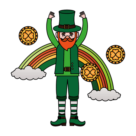 leprechaun rainbow and coins happy st patricks day vector illustration