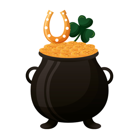 cauldron coins horseshoe clover happy st patricks day vector illustration Vectores