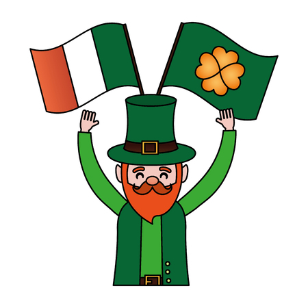 leprechaun irish flag happy st patricks day vector illustration