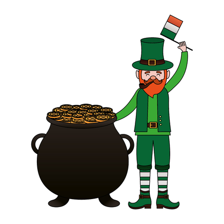 leprechaun with flag and cauldron happy st patricks day vector illustration