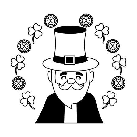 leprechaun wreath clovers coins happy st patricks day vector illustration