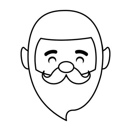 smiling man face bearded on white background