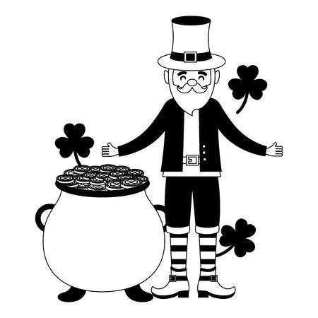 leprechaun pot coins clovers happy st patricks day vector illustration Foto de archivo - 115984619