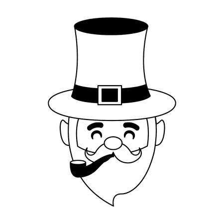 leprechaun with pipe happy st patricks day vector illustration