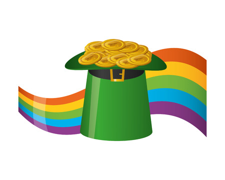 filled hat coins rainbow happy st patricks day vector illustration Ilustração