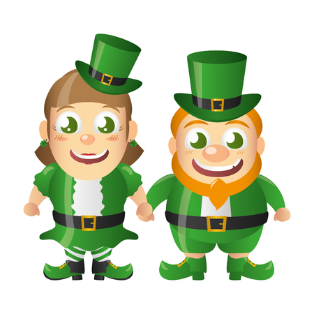 leprechaun and girl characters st patricks day vector illustration Reklamní fotografie - 125837307