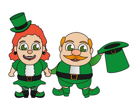 leprechaun and girl characters st patricks day vector illustration