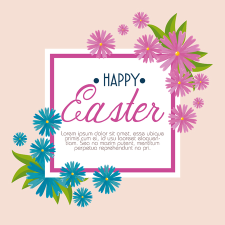 happy easter celebration with flowers and leaves vector illustration Archivio Fotografico - 125837309