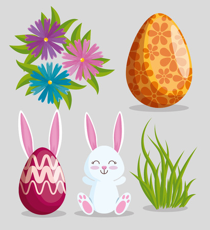 set easter rabbit with eggs decoration and flowers vector illustration