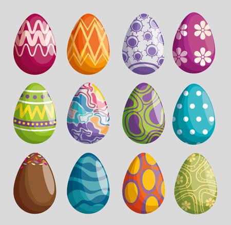 set eggs with figures decoration to easter celebration vector illustration 일러스트