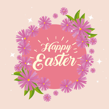 happy easter celebration with flowers decoration vector illustration 일러스트