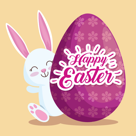 happy rabbit with egg to easter event vector illustration 일러스트