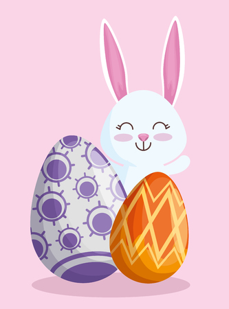 happy rabbit with eggs to easter event vector illustration