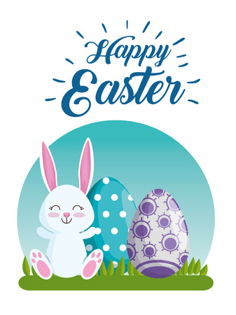 happy rabbit with eggs decoration to easter event vector illustration